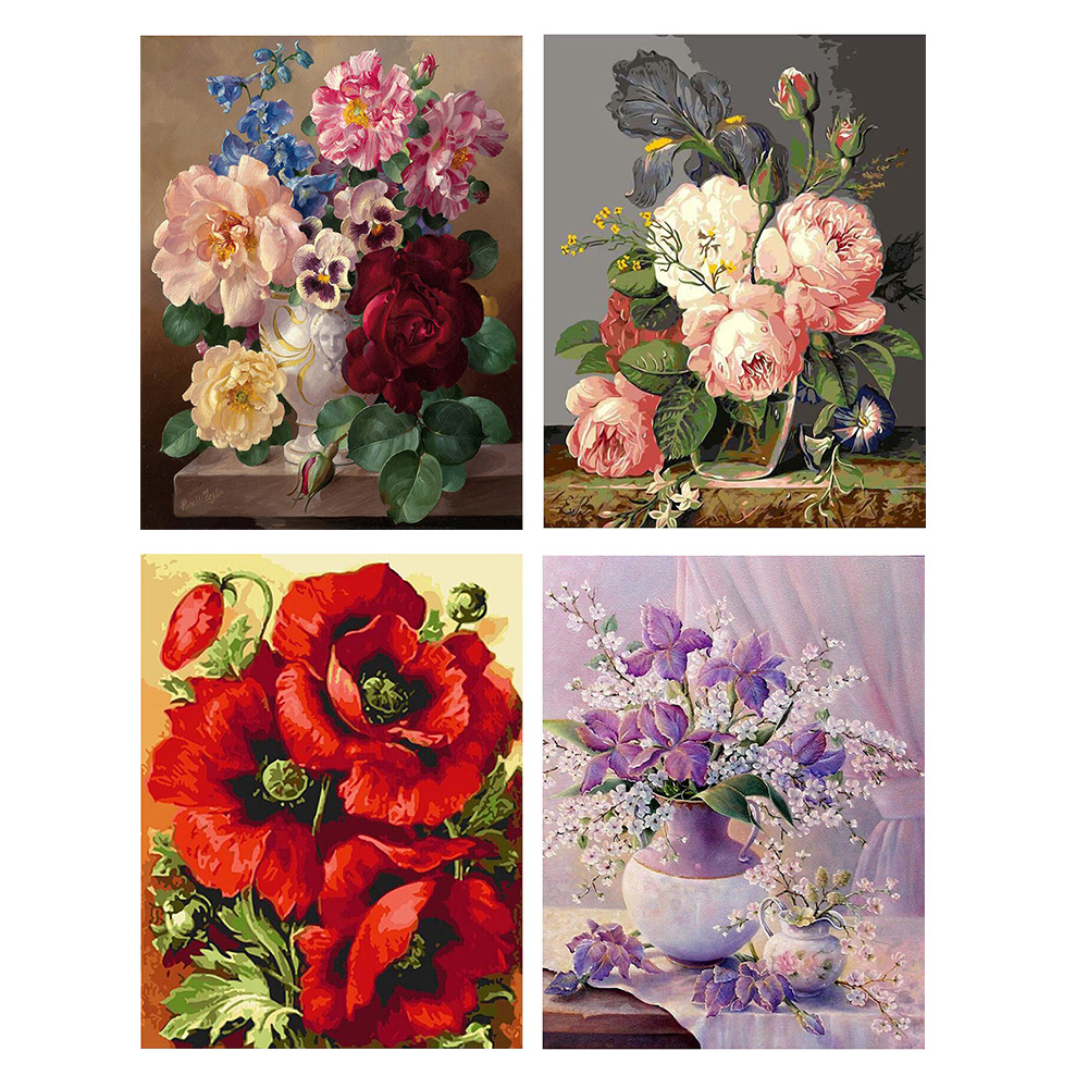 GATYZTORY DIY Painting By Numbers Flowers Canvas Drawing Figure Oil Painting HandPainted Home Decor Gift