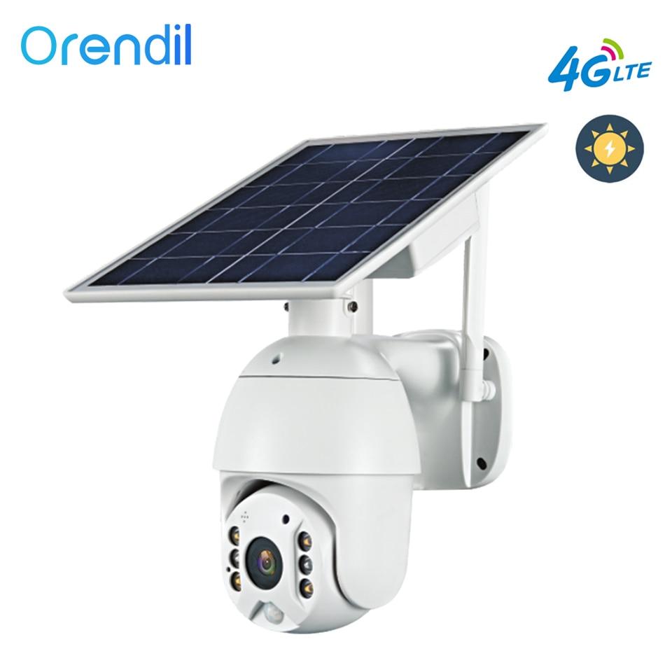 Orendil OSE-03 4g lte 1080p dome câmera 8w painel solar bateria câmera de segurança ao ar livre ptz cctv câmera ip inteligente monitor de segurança