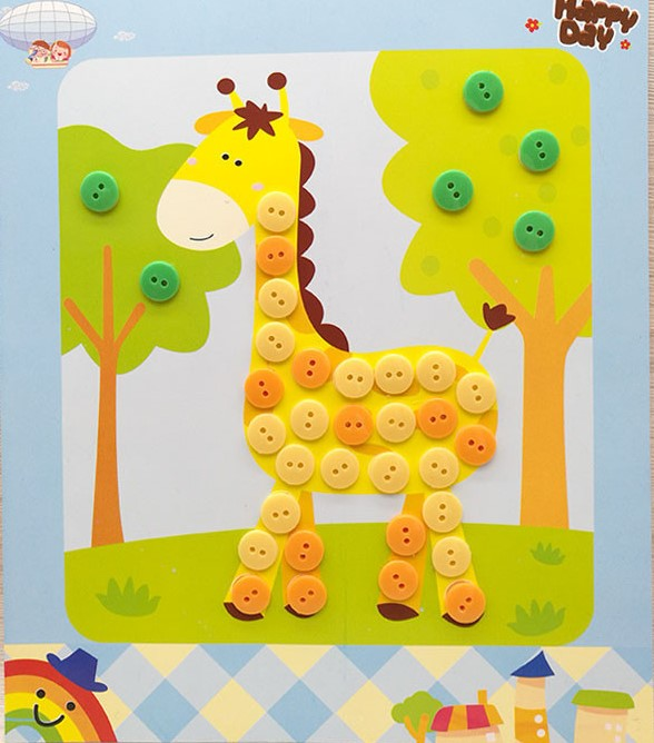 Button Painting Children Handmade Kindergarten Creative DIY Toy Paste Painting Drawing Craft Kit Children Early Educational