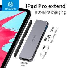 Hagiibis USB C HUB TYPE-C na HDMI kompatybilny Adapter 3.5mm Audio PD ładowanie USB 3.0 Port konwerter na iPad Pro Macbook Laptop