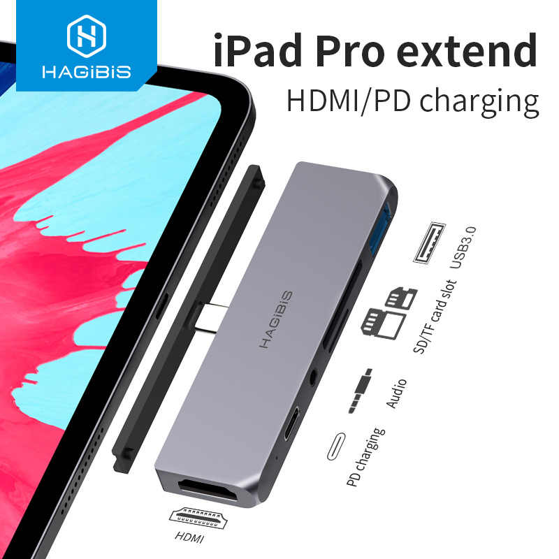 Hagibis Usb C HUB TYPE-C Ke HDMI Adapter 3.5 Mm Audio PD Pengisian USB 3.0 Port Converter 4K HDTV hub untuk iPad Pro Macbook Laptop