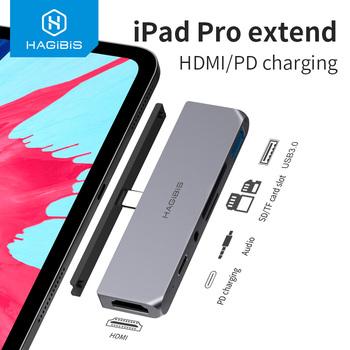 Hagiibis USB C HUB TYPE-C na HDMI Adapter 3 5mm Audio PD ładowanie USB 3 0 Port konwerter 4K HDTV hub na iPad Pro Macbook Laptop tanie i dobre opinie Hagibis Thunderbolt 3 Męski-żeński YC-iPC01 Typ-C Kable Karton USB3 1 Type-c to HDMI Type-c to USB 3 0 Type-c to AUX