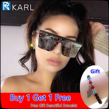 KARL Super Large Square Sunglasses Men Women Flat Top Fashion Lens Connected Oversized Zonnebril Heren Shades Mirror
