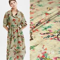 Natural silk ramie fabric high quality silk linen blend fabric linen material retro printed fashion fabric boutique cloth