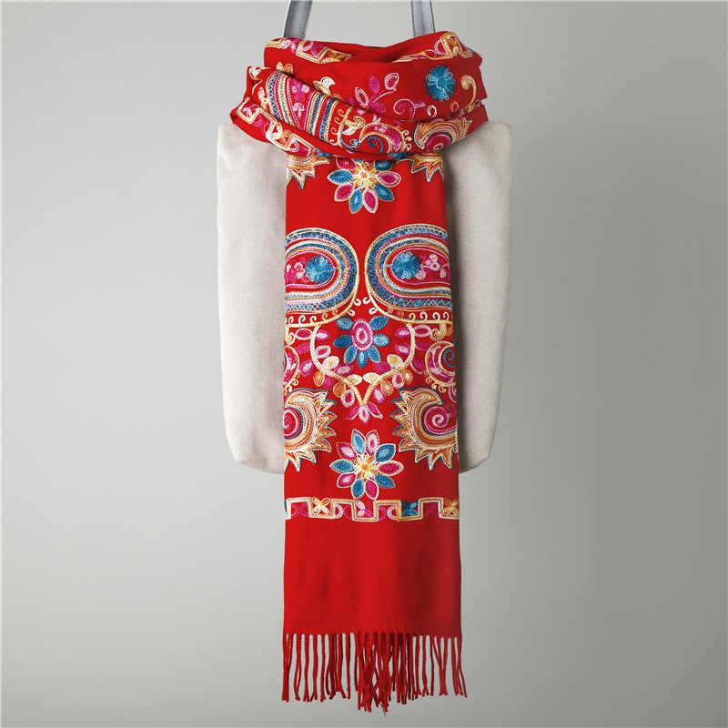 真新しい女性刺繍花パシュミナ冬暖かい 200*70 センチメートルタッセルスカーフ特大ショールファッションショールスカーフ