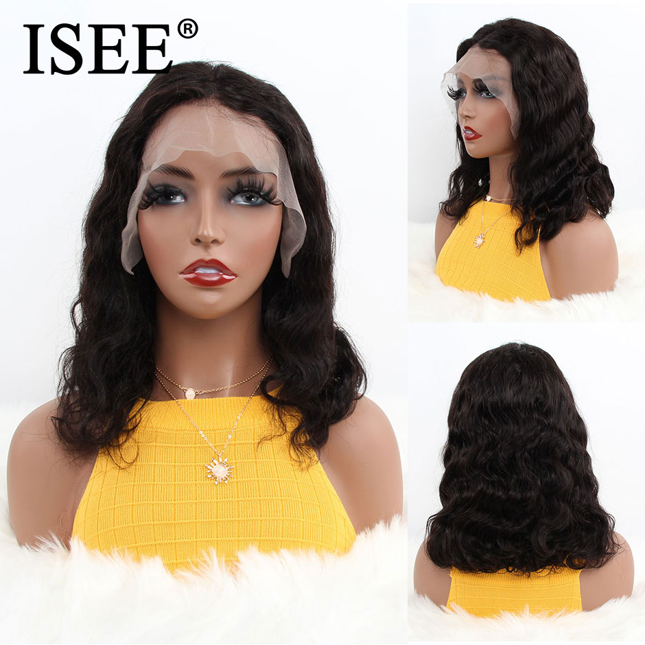 Body Wave Short Human Hair Wigs 360 Lace Frontal Wig ISEE HAIR Malaysian Body Wave Bob Lace Front Human Hair Wigs For Women