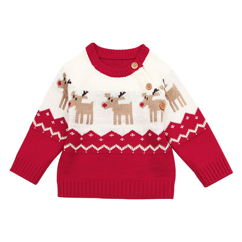 Girls Boy Long Sleeve Knit Elk Christmas Sweater Tops