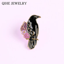 Six Of Crows Inspired Enamel Pin Witch Animal Black Raven Gothic Book Brooch Lapel Pin Button Badge Wholesale Jewelry(China)