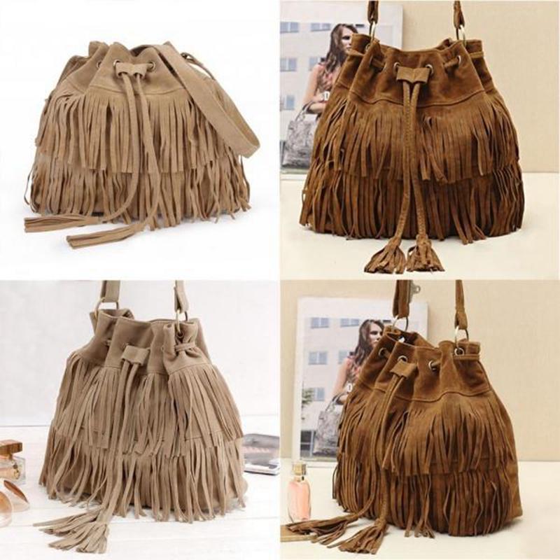 Retro Faux Suede Fringe Women Messenger Bags Tote New Handbag Tassel Shoulder Handbags Crossbody Bag 2020