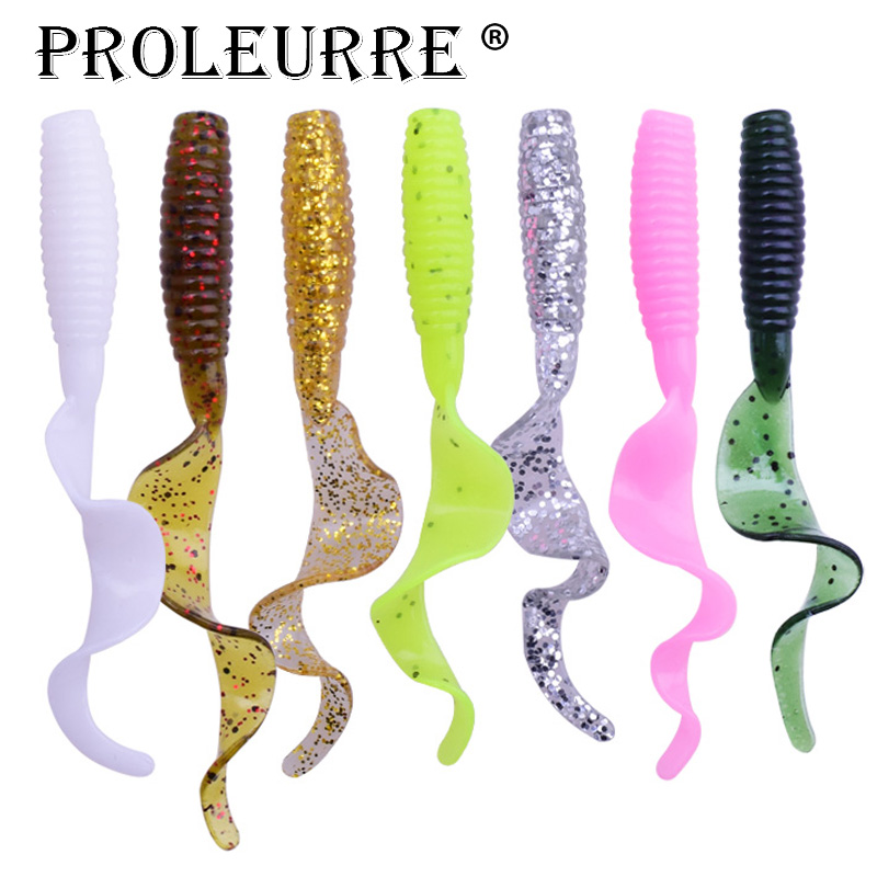 5pcs/lot Curl Worm Soft Bait 55mm 2g Jig Wobbler Artificial Shrimp Odor With Salt Rubber Bass Fishing Lure Long Tail Swimbait
