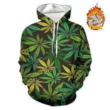 Толстовка ogkb мужская с 3d принтом зеленых листьев теплый свитшот