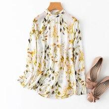 Women's 100% Mulberry Silk Stand Collar Shirt Top Blouse long sleeve office work white floral JN530