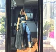 Дешевая Тюлевая юбка сетчатая с эластичным поясом Женская черная