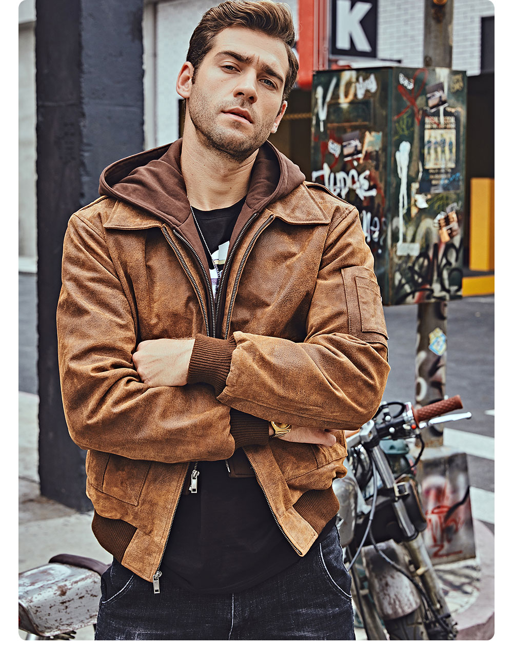 H9359f501b94642e09ca4d9ac62becb7fD FLAVOR New Men's Genuine Leather Bomber Jackets Removable Hood Men Air Forca Aviator winter coat Men Warm Real Leather Jacket