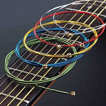 6Pcs Acoustic Guitar Strings Rainbow Colorful E-A for Folk Classic Stainless Steel