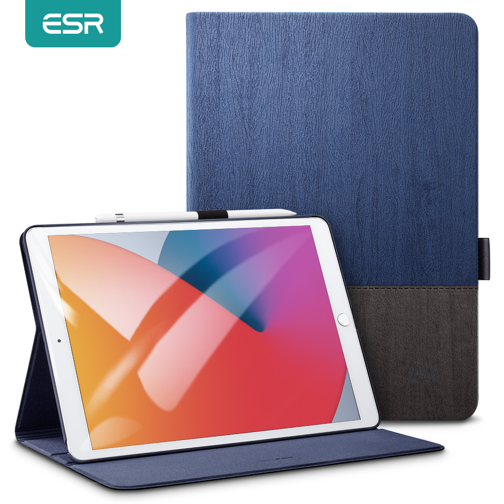 Étui pour tablettes ESR pour 2020 iPad 8th / iPad Air 4 / iPad Pro 11 12.9 pouces 2nd/4th Gen Oxford support de pliage en tissu étui intelligent