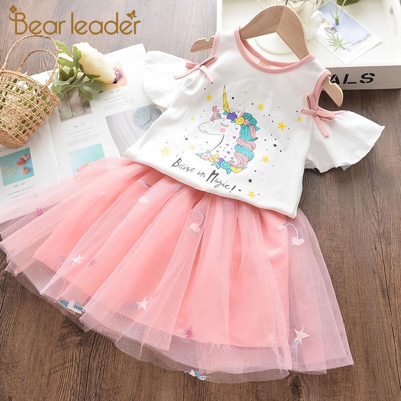 Bear Leader Girls Unicorn Dress 2020 New Summer Cute Girl Kid Mesh Dress Cartoon Embroidery Vestidos Baby Suit Children Clothing