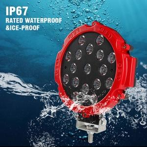 """Image 2 - OKEEN Barra de luz LED de alta potencia, foco de trabajo de 7 """", 51W, foco de conducción por inundación, para todoterreno, 12V, 24V, 4x4, 4WD, barco, SUV, camión, JEEP"""