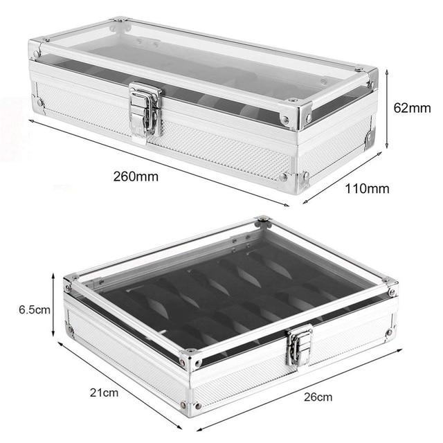 Caja del reloj de cristal de la caja del reloj de la vitrina de aluminio de la aviación 6/12 ranuras caja del reloj d25