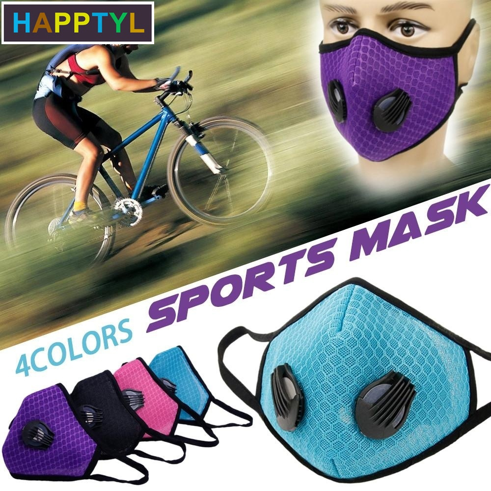 HAPPTYL 1Pcs Fashion Respirator Mask With Breathing Washable Gridding Mesh Activated Carbon Filter PM2.5 Mouth Masks