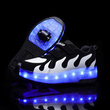 Children Pink Two Wheels Luminous Glowing Sneakers Grey Pink Led Light Roller Skate Shoes Kids Led Shoes Boys Girls USB Charging(China)