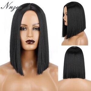 NNZES 14 дюймов натуральный прямой парик Боб средняя часть короткий черный парик термостойкие волокна синтетические парики для черных женщин