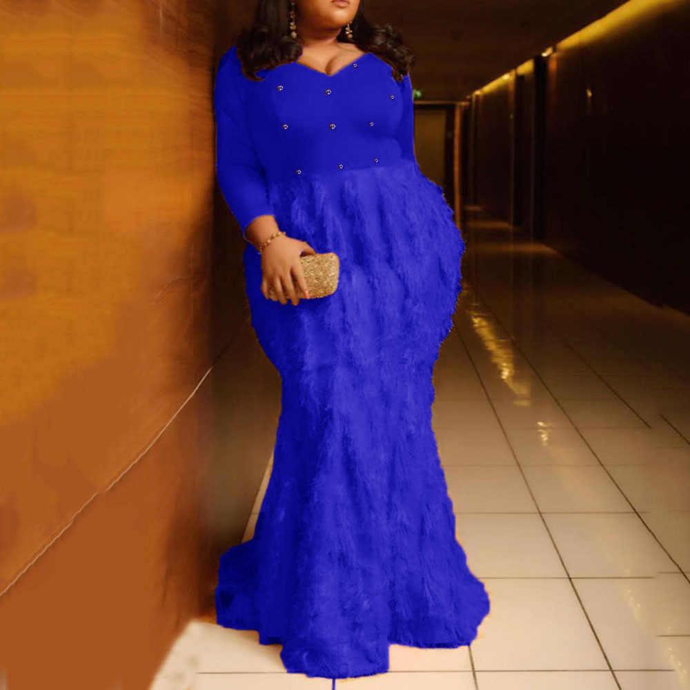 Orange Feder Lange Mermaid Party Kleider Frauen Abend Elegante Plus Größe XL-5XL Bodycon Diamant Bodenlangen Damen Maxi Kleid