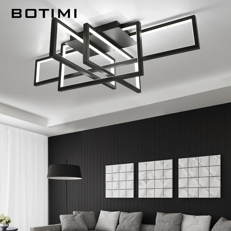 BOTIMI Modern Square LED Ceiling Light For Living Room Black Geometry Bedroom Lighting Surface Mounted Corridor Home Lightings