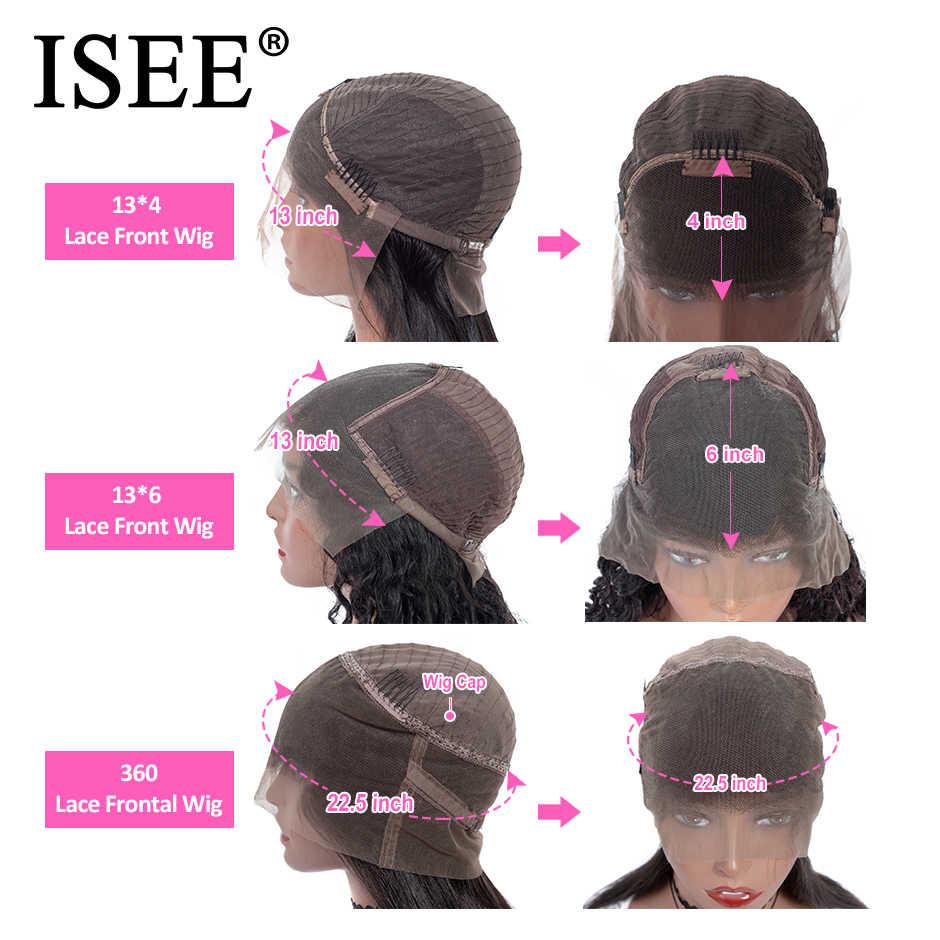 Pelucas de pelo humano rizado mongol 360 peluca Frontal de encaje 150% densidad 13X6 ISEE Pelo Rizado rizado pelucas de cabello humano frontal