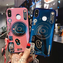 3D Retro Bluray Camera Case For Huawei Honor Play 3 V9 Play Note 10 8X Max Nova 4 5 5i Y5 Y6 Y7 2017 Bracket Wrist Band Cover(China)
