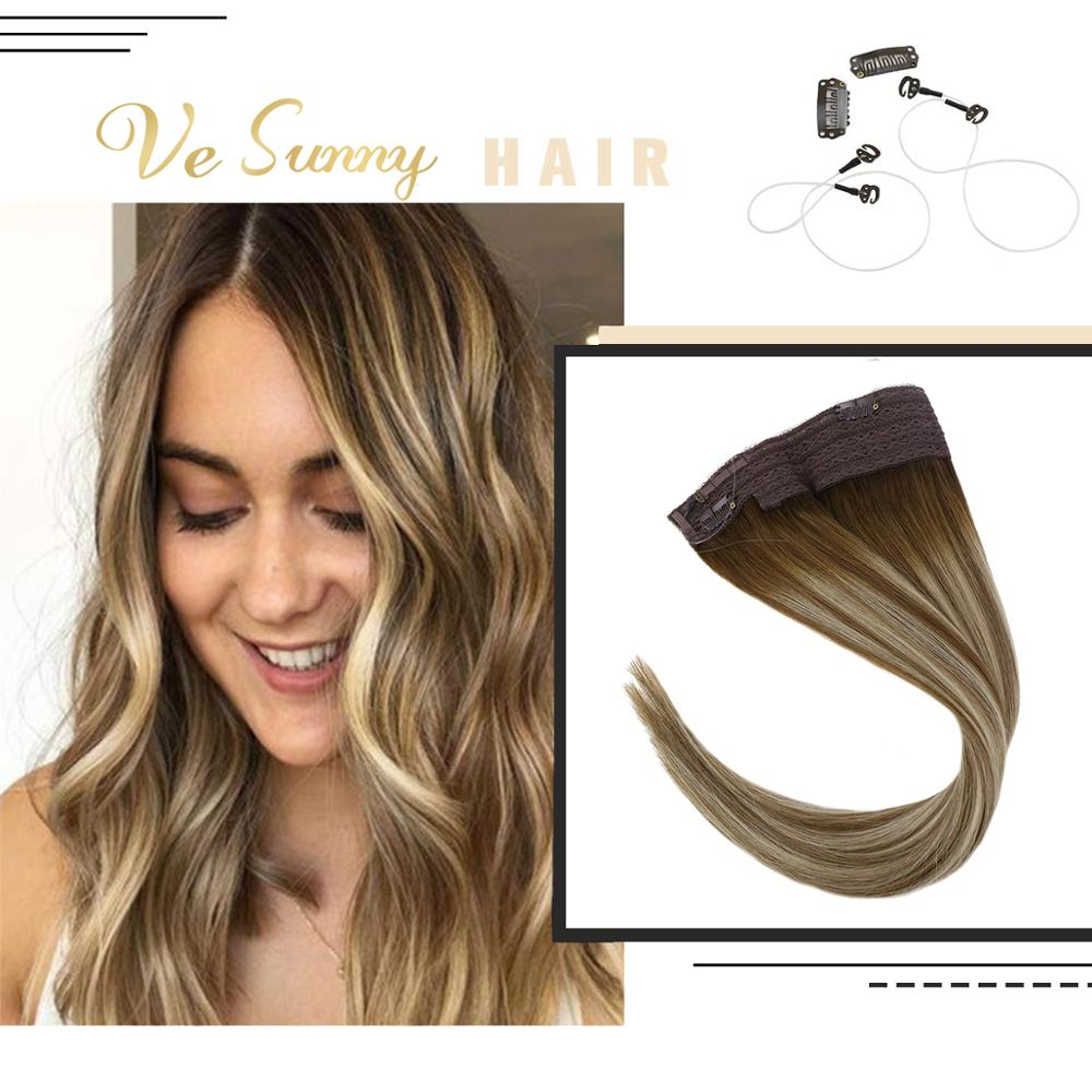 VeSunny One Piece Invisible Halo Hair Extensions 100% Human Hair Flip In Wire With Clips On Balayage Brown Mix Blonde #6/60/6