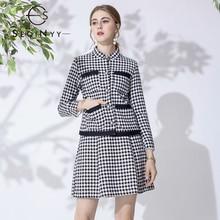 цена на SEQINYY Women Set High Quality  2020 Spring Autumn New Fashion Design Jacket + Mini A-line Skirt Houndstooth Black White Suit