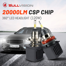Bullvision LED H1 HB3 H7 360 الضباب مصباح H8 H9 H11 HB4 العلوي ل سيارة 20000Lm 9005 9006 مع سامسونج Csp توربو 120W H4 12V الجليد
