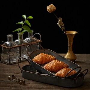 Image 2 - ヴィンテージ金属収納トレイレトロデザートフルーツケーキパンプレートハンドルホームキッチン食品オーガナイザーデスクトップ雑貨トレイ