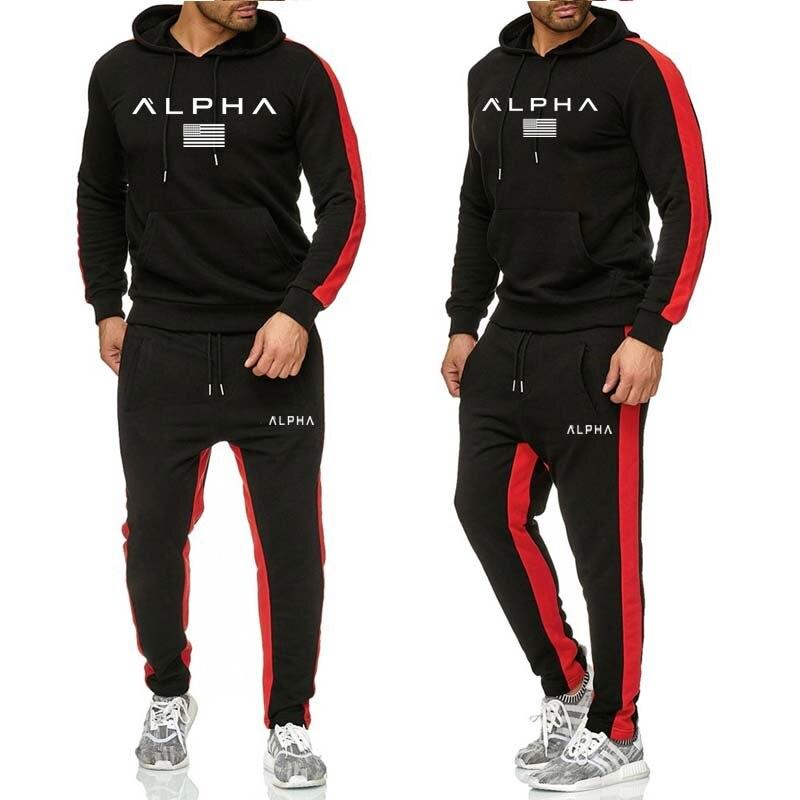 Men's Sets Hoodie And Pants Sweatsuit Male Sportswear Tracksuit Men Set 2019 Brand Sporting Suit Track Sweat Print Alpha Jackets