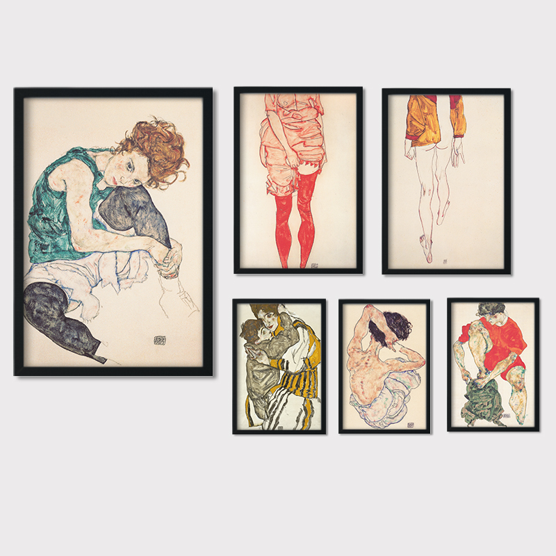 Canvas Art Printed Painting Posters Wall Pictures Egon Schiele Body Color Delineation Sketch Figure For Living Room Home Decor