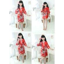 Модный детский Атласный халат для девочек, цветочный халат с принтом павлина, Короткое Кимоно, ночное купальное платье, высокое качество