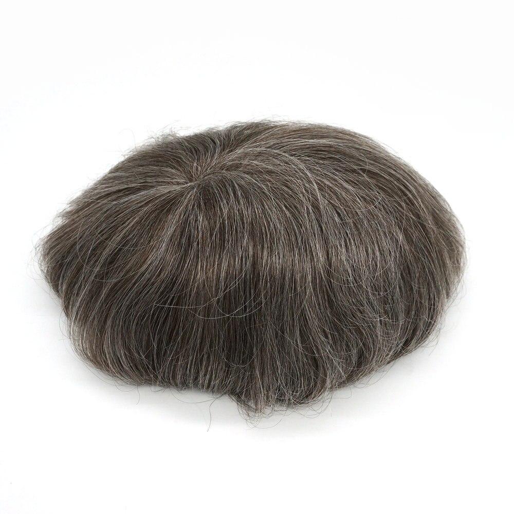 Hstonir Super Thin Skin Toupee Men Wig Indian Remy Hair H078