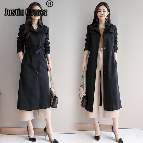 Single-breasted Black Office Ladies Windbreaker Female Autumn Straight Long   Trench   Coat Work Women Casual Daily Woman's Coat