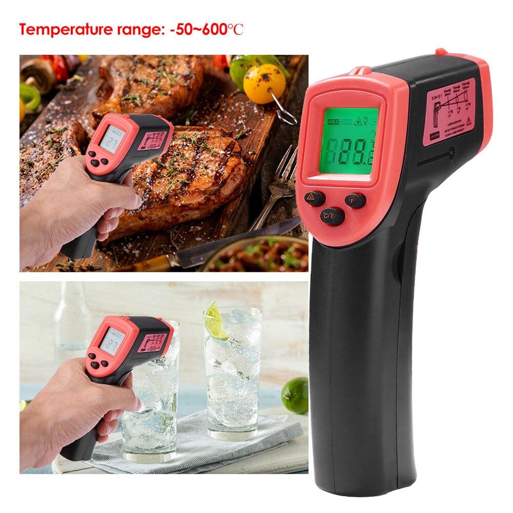 Цифровой инфракрасный термометр, лазерный измеритель температуры, Бесконтактный пирометр, гигрометр, ЖК светильник 50 ~ 600 °C|Приборы для измерения температуры|   | АлиЭкспресс
