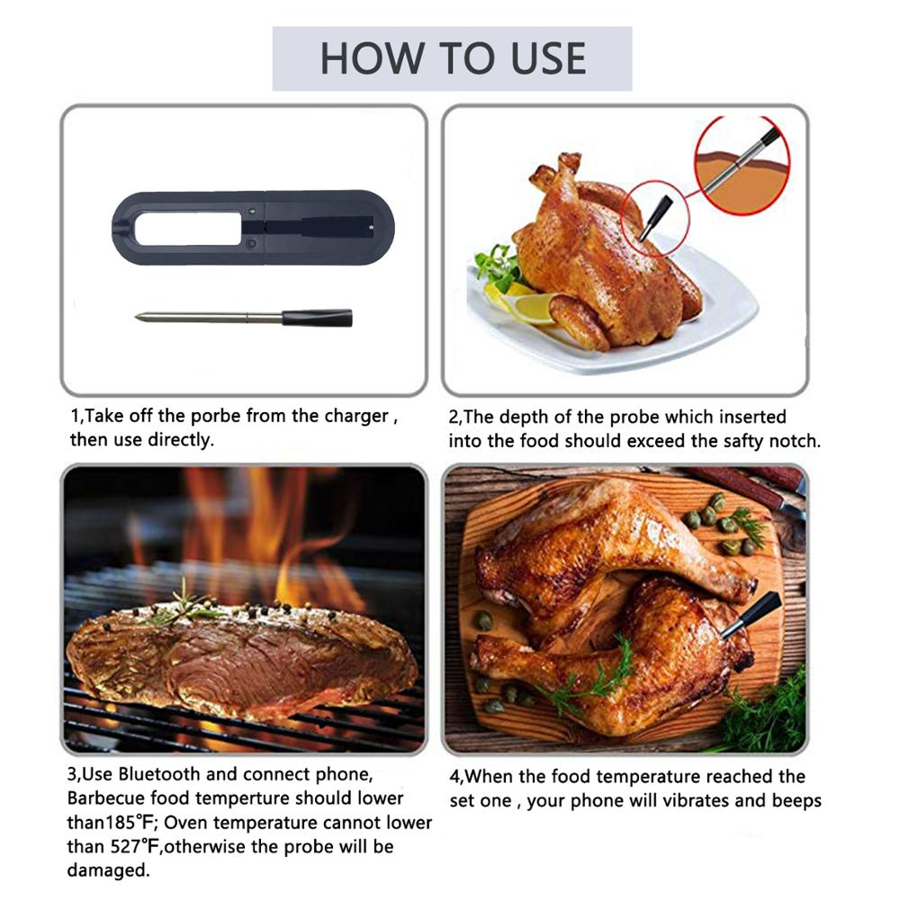 Image 4 - Wireless Meat Thermometer with Bluetooth Wifi Digital Connect  Kitchen Oven Grill BBQ Smoker Rotisserie ThermometerBuilding  Automation