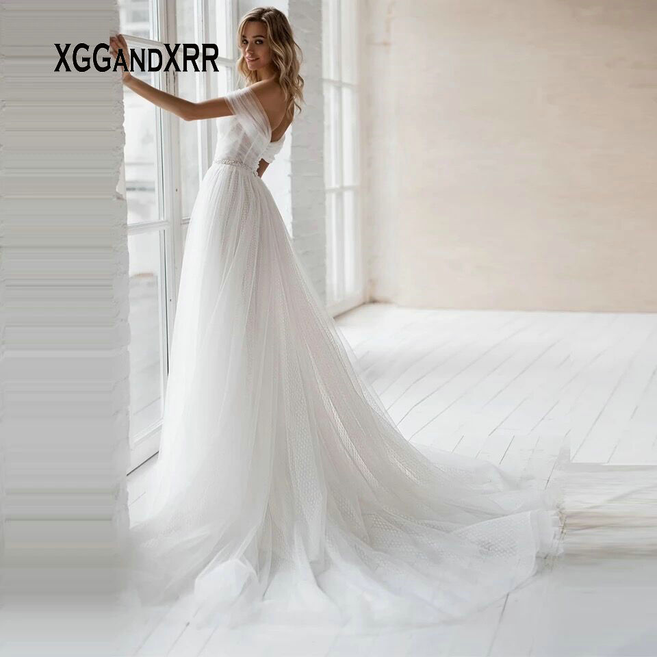 Simple Beach Wedding Dress 2020 Sweetheart Off Shoulder Sexy Backless Court Train White Formal Dress Plus Size Bride Gown