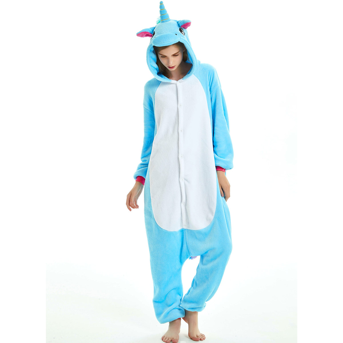 Image 4 - Women Kigurumi Unicorn Pajamas Sets Flannel Cute Animal Pajamas kids Women Winter unicornio Nightie Pyjamas Sleepwear Homewear-in Pajama Sets from Underwear & Sleepwears
