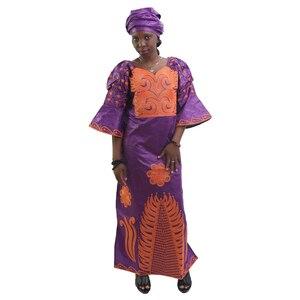Image 3 - MD African Traditional Dress Women Bazin Riche Ankara Maxi Dresses Nigerian Wedding Embroidery Dashiki Dress With Headtie Turban
