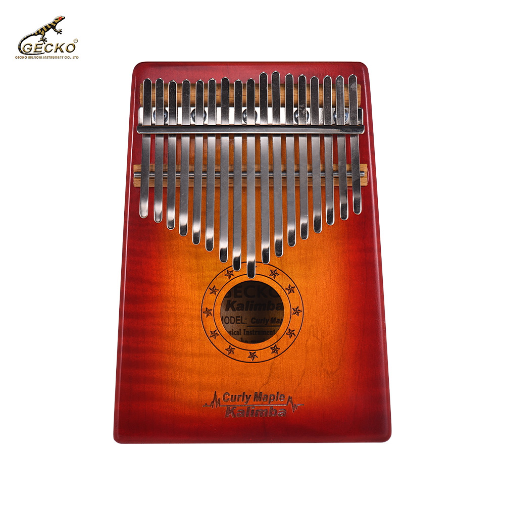 GECKO MC-S 17-key Kalimba Thumb Piano Mbira Curly Maple Solid Wood with Storage Case Tuning Hammer Music Book Stickers Gift