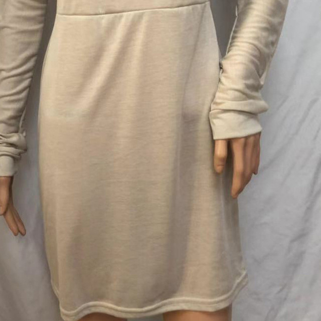 45#Beach Dress Women Winter One Shoulder Sweatshirt Long Sleeve Solid Color Mini Women's Dresses Holiday Party Nihgt Dress 3