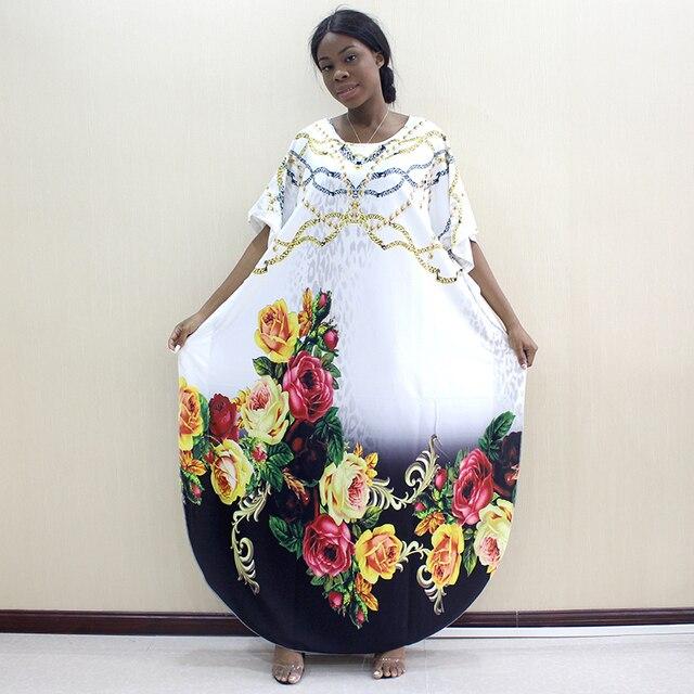 2019 nowości Fashion Design Dashikiage kwiaty i biżuteria wzór wydruku czarny krótki rękaw Plus rozmiar sukienki dla kobiet