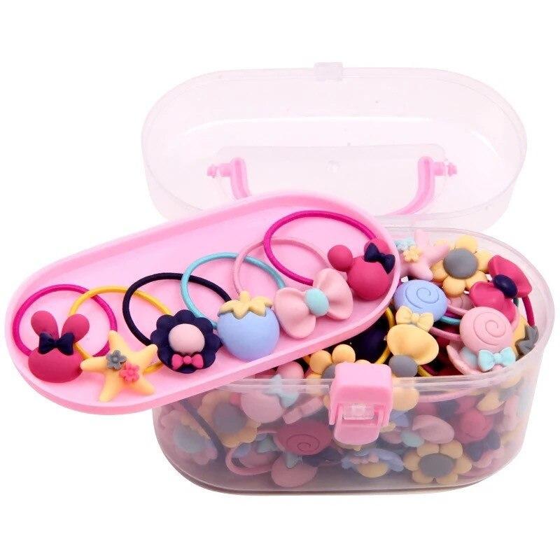 40Pcs/Lot Girls Hair Accessories Gift Box Elastic Hair Bands Flower Hair Clip Bows New