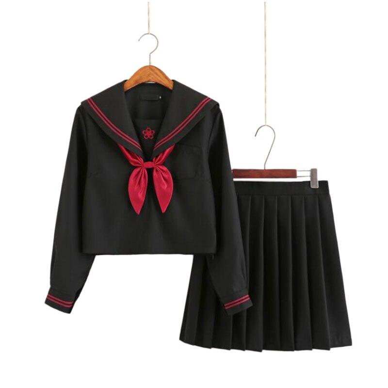 2019 Autumn Japanese School Uniforms For Girls Cute Long-length Sailor Tops Pleated Skirt Full Sets Cosplay JK Costume Series