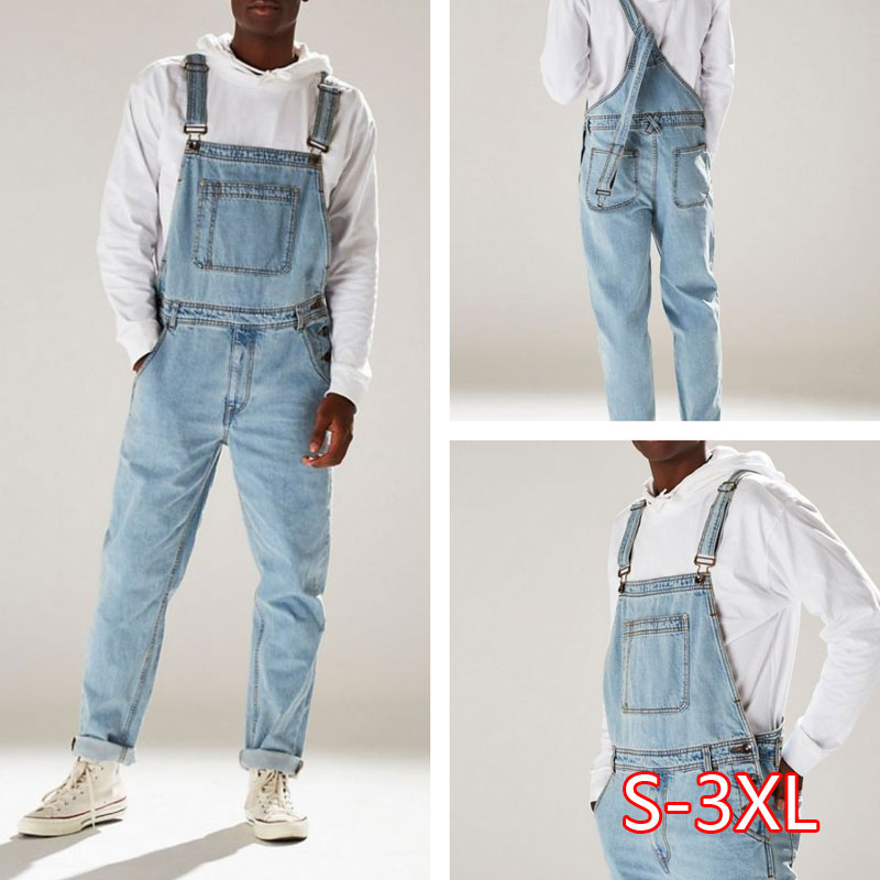 Men Casual Jeans Denim Strap Jean Jumpsuit Loose Fitting Sleeveless Casual Feminino Overalls Dungarees Playsuit 2020 2020
